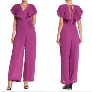 Purple Rosa Pleated Short Sleeve Tie Back Jumpsuit